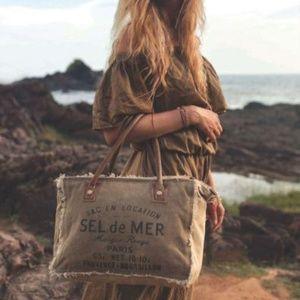 "NEW Vintage Canvas & Leather ""Sel De Mer"" Handbag"